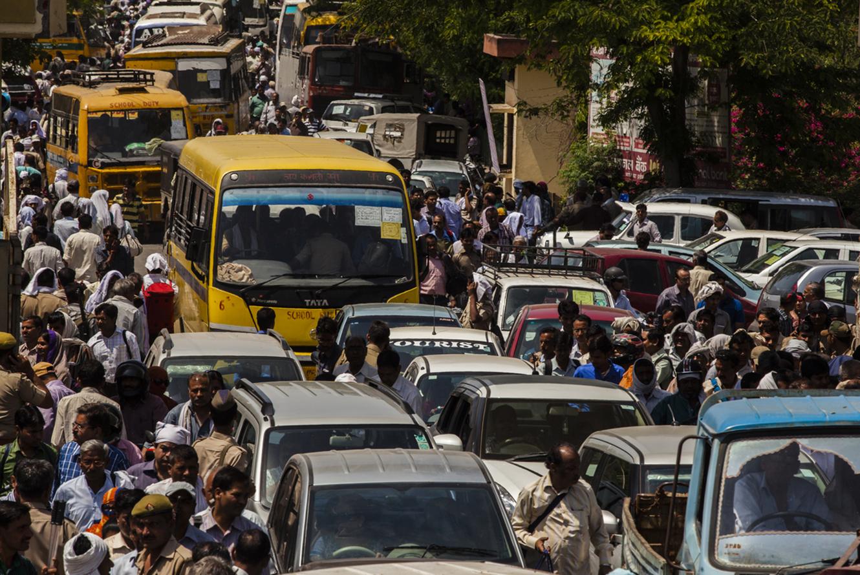 A crowded street in Agra, Uttarpradesh. @ Prashanth Vishwanathan / UNDP India