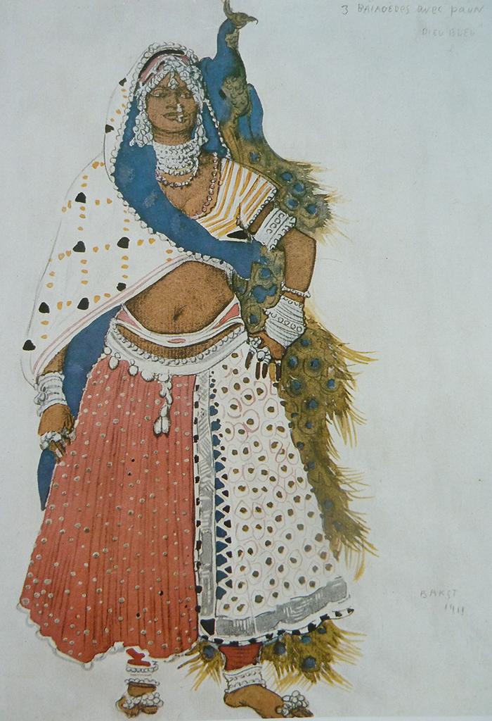 Hétaïre avec un paon (1912), croquis du costume pour le ballet  Le Dieu Bleu