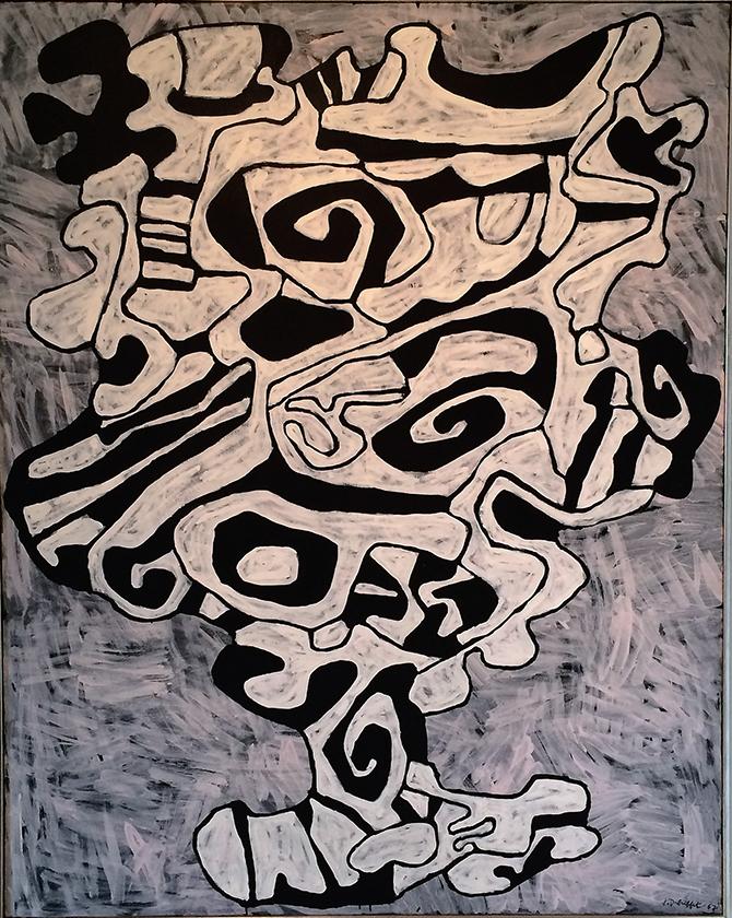 Jean Dubuffet,  Le verre d'eau IV , 26 février 1967, vinyle sur toile, 162x130 cm.