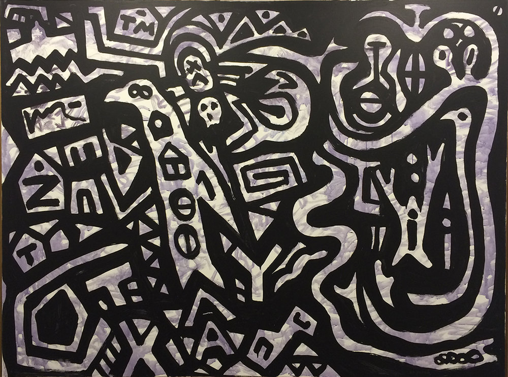 A.R. Penck,  Dunkles Geheimnis , 2009, acrylique sur toile, 150x200 cm