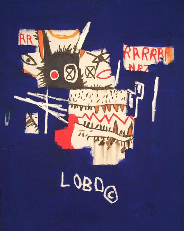 Jean-Michel Basquiat,  Lobo , 1986, acrylique et craie grasse sur toile, 126,5x100,5 cm