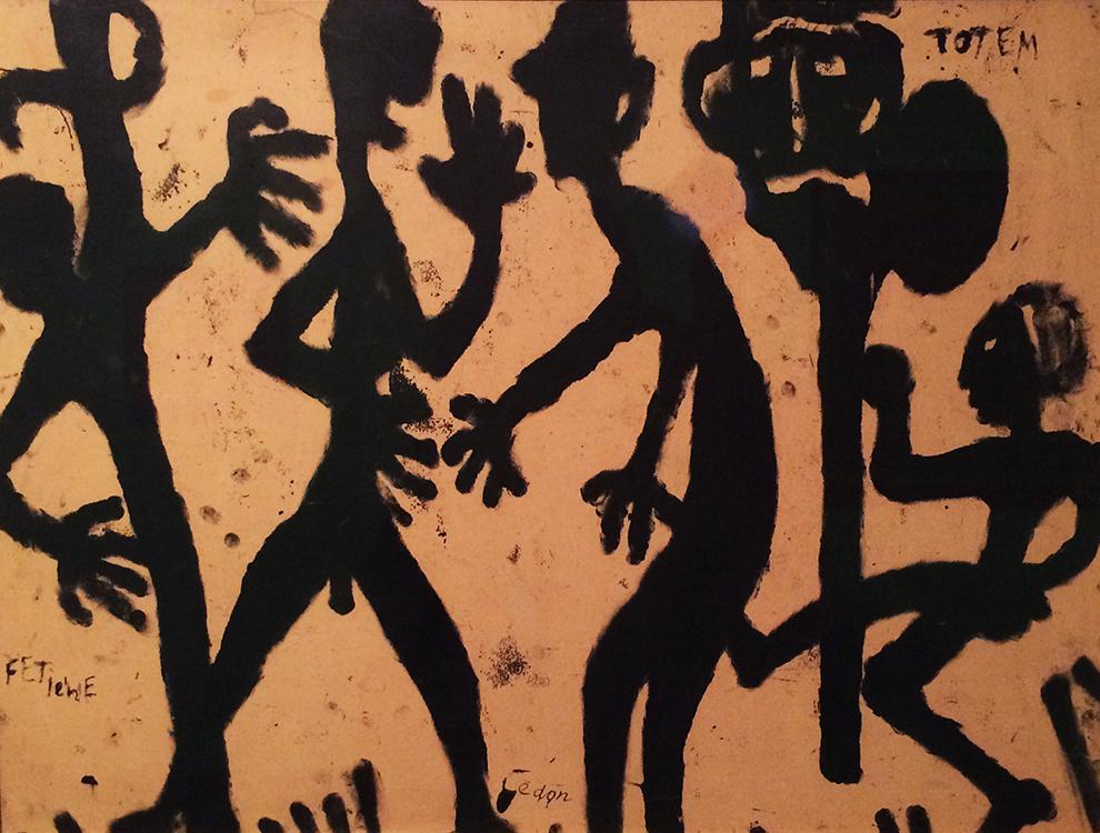 Louis Soutter,  Totem , sans date (1937-1942), encre noire, papier contrecollé sur carton, 43,5x57 cm