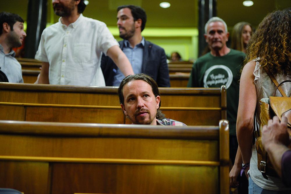 Pablo Iglesias, leader de  Podemos  et tenant d'un virage plus à gauche pour redonner un cap contestataire au parti. © Dani Gago / Madrid, 2 septembre 2016