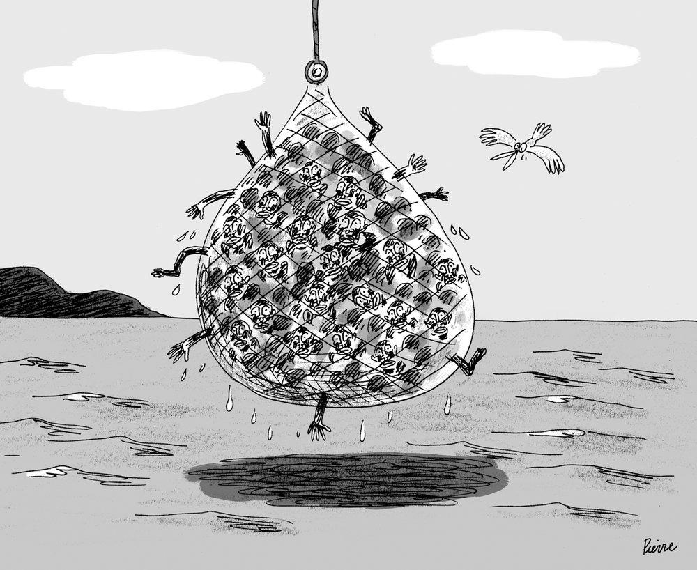 80 migrants sauvés par des pêcheurs en Méditerranée. © Pierre Dubois / Mai 2015