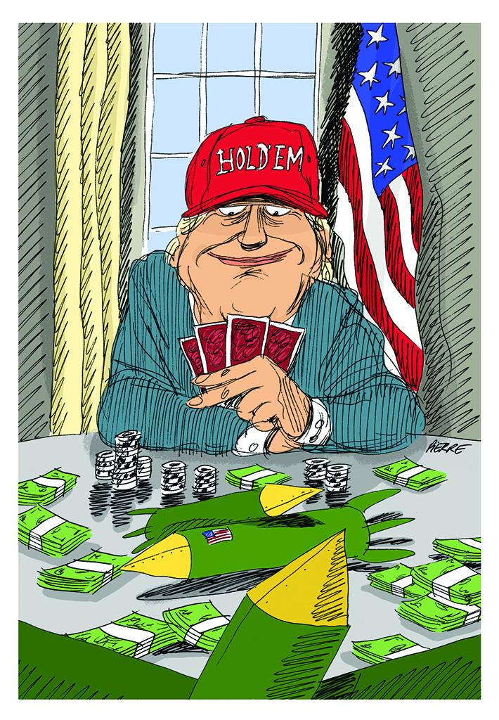 Donald Trump, roulette syrienne et poker coréen. © Pierre Dubois / Mai 2017