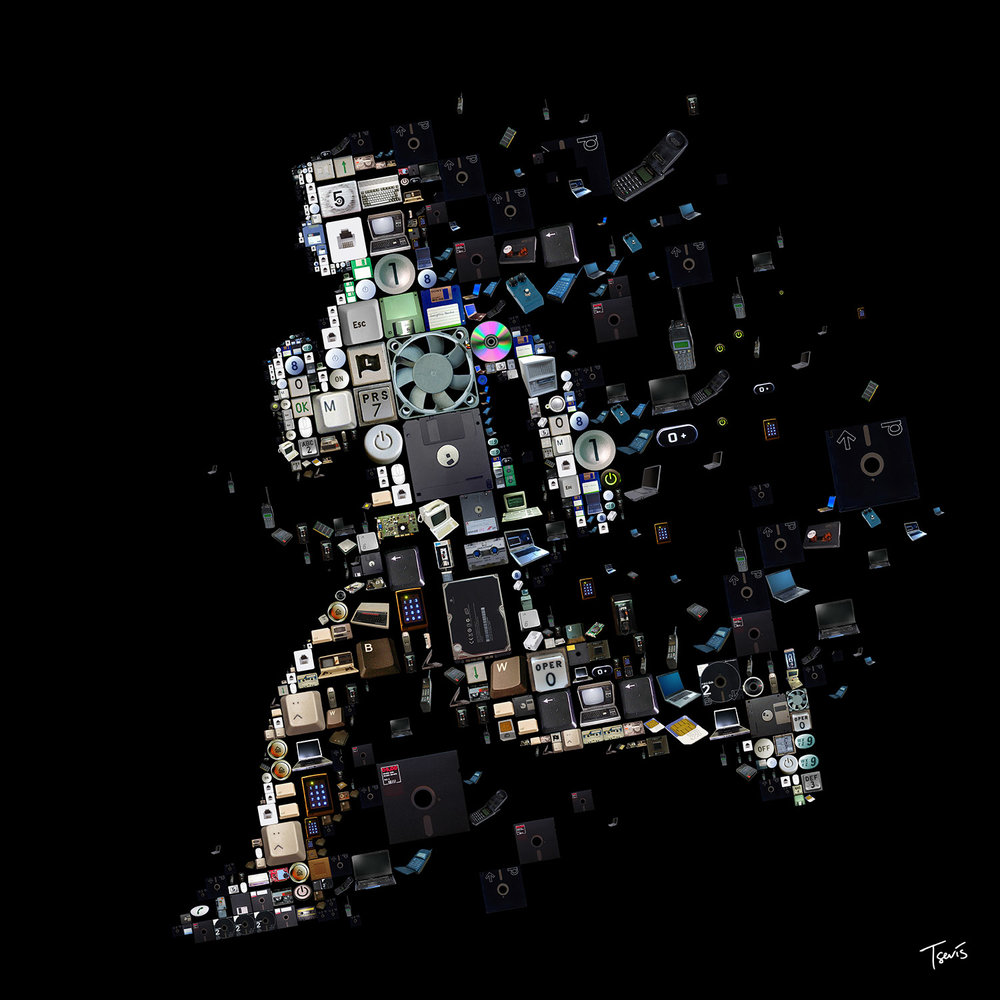 Projet pour la couverture du livre  Ghost in the Wires  de Kevin Mitnick, pirate informatique devenu consultant en sécurité digitale. © Courtesy Charis Tsevis / 2011