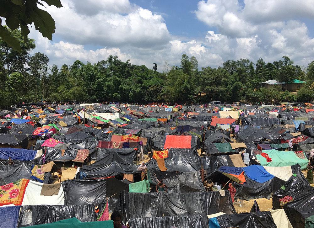 Bangladesh. Un camp de fortune mis sur pied à la fin de l'été. © UNICEF / 2017