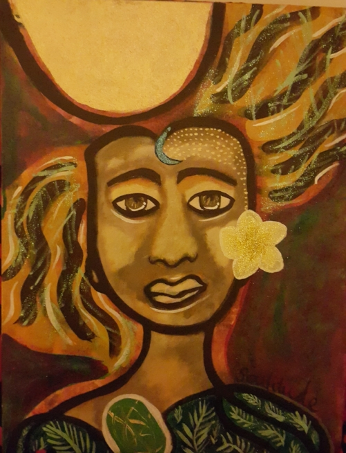 "Here is my finished painting: Soulitude, soul with attitude. ""Radiance is in all light"""