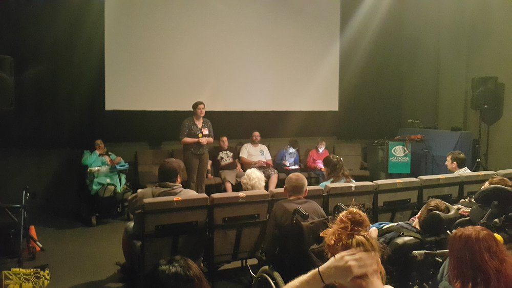 Shannon leads the Panel Discussion about the Communication film at our film screening.