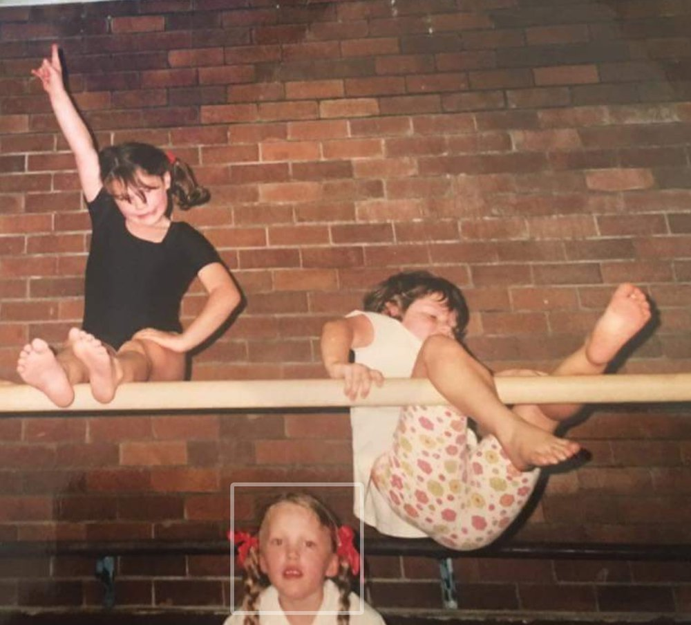 I learned the hard way that I did not have even a drop of my parents' sporting abilities. I'm the one falling down (obviously) and my sister, Bridget, is the one on top.