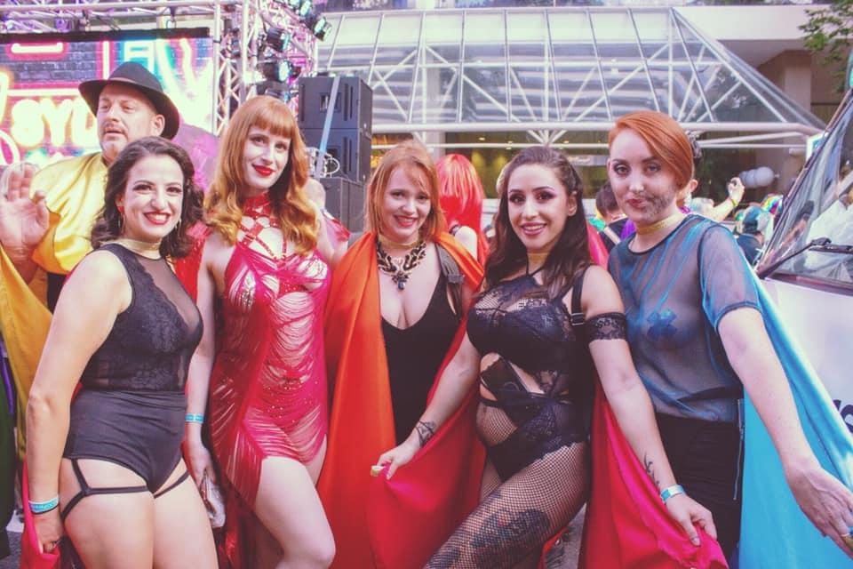 Katia and Dahlia with Siren students and members of Deaf Rainbow Australia at Mardi Gras