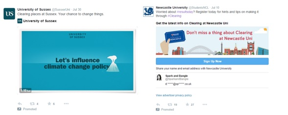 An example on the left of a promoted tweet and a lead generation card on the right