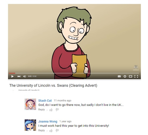 TomSka video for University of Lincoln posted four years ago with comments from students.