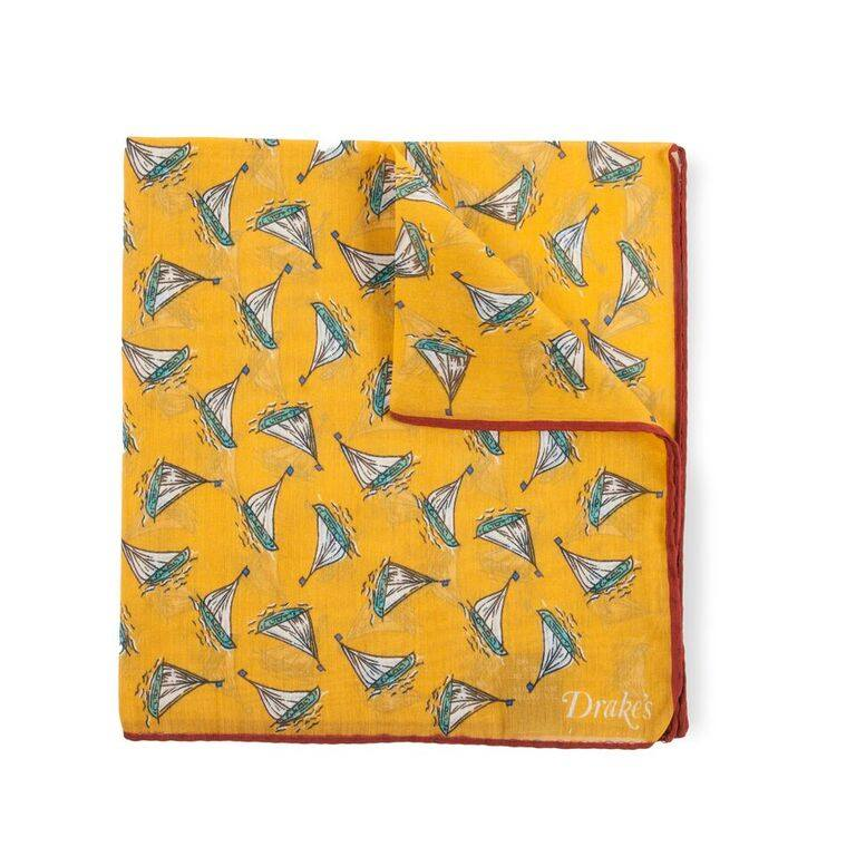 New pocket squares from Drake's  have arrived at Crane Brothers. Pictured is the mustard schooner print cotton and silk pocket square. Available in store and online now: crane-brothers.com