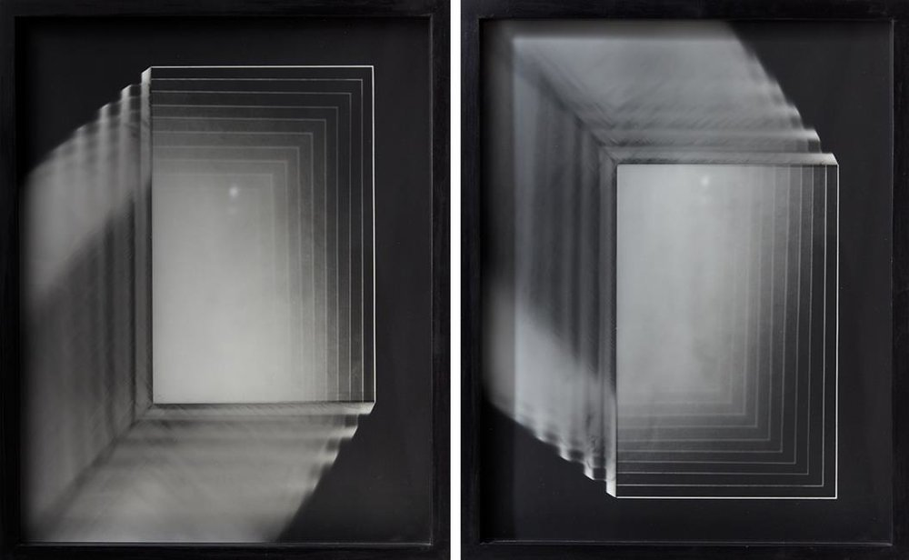 Andrew Beck, 'Glass Strata', signed and dated 2015. Gelatin silver prints, diptych, 500 x 400mm: each panel.