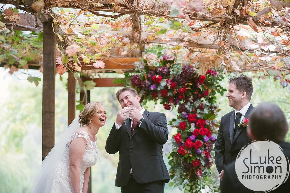 Wedding ceremony lipstick transfer