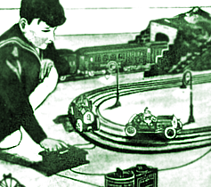 Artwork of a boy playing with 1911 Lionel slot cars. | Image Credit:  D. Helber via wikipedia .