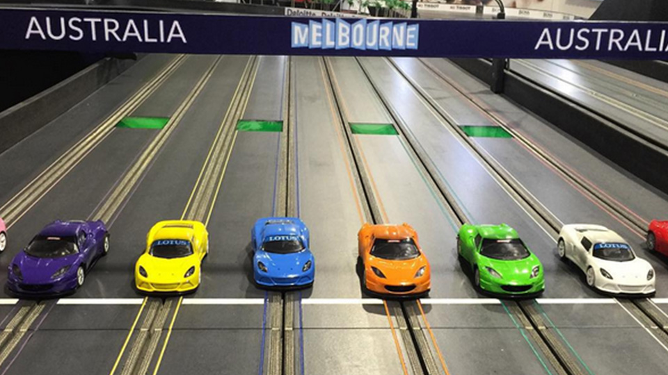Cars are ready to take off at our Albert Park inspired slot car track.