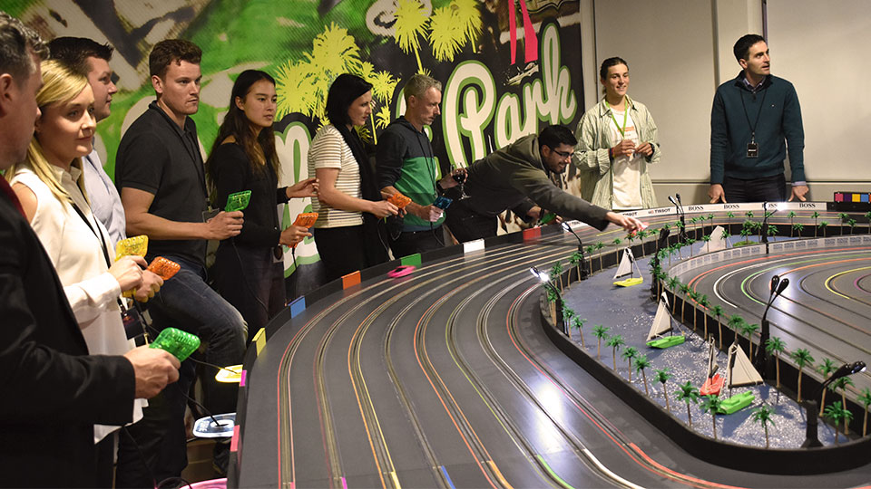 Slot car racing in action