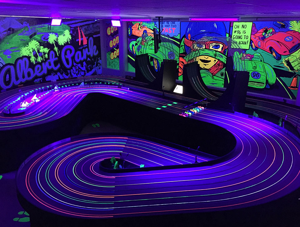 Unique uv feature lights up the track at race party aloadofball Gallery