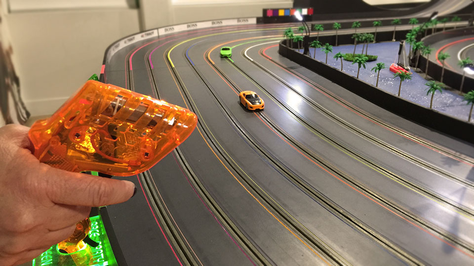 Slot car controller in action