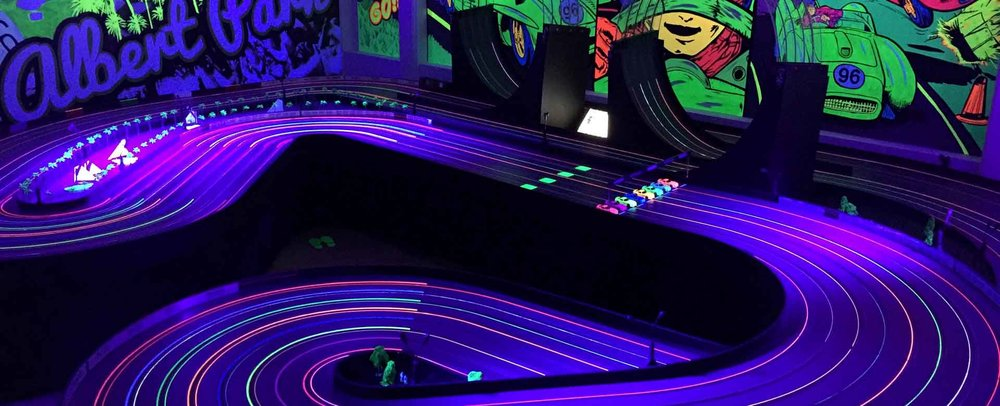 Fluro slot car racing for all!   Book Now