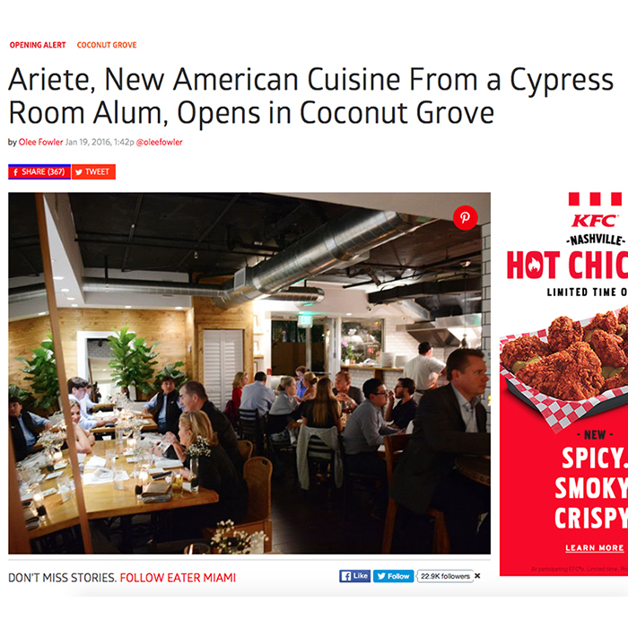 Ariete, New American Cuisine From a Cypress Room Alum, Opens in Coconut Grove