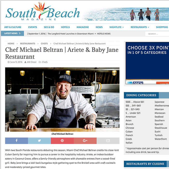 Chef Michael Beltran | Ariete & Baby Jane Restaurant