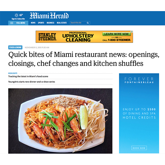 Miami Herald: Quick Bites of Miami's New Openings & Closings