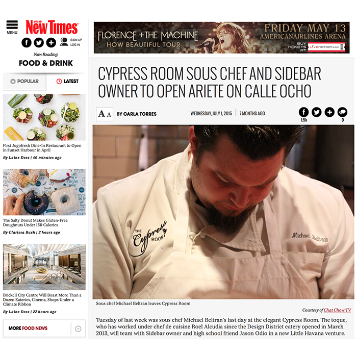 Miami New Times: Cypress Room Sous Chef and Sidebar Owner to Open Ariete
