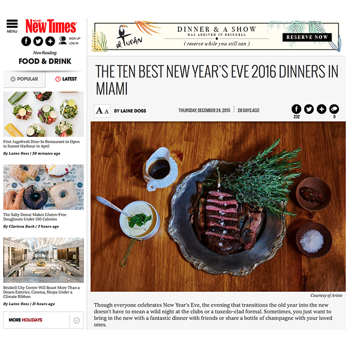 Miami New Times: The 10 Best New Year's Eve Dinners