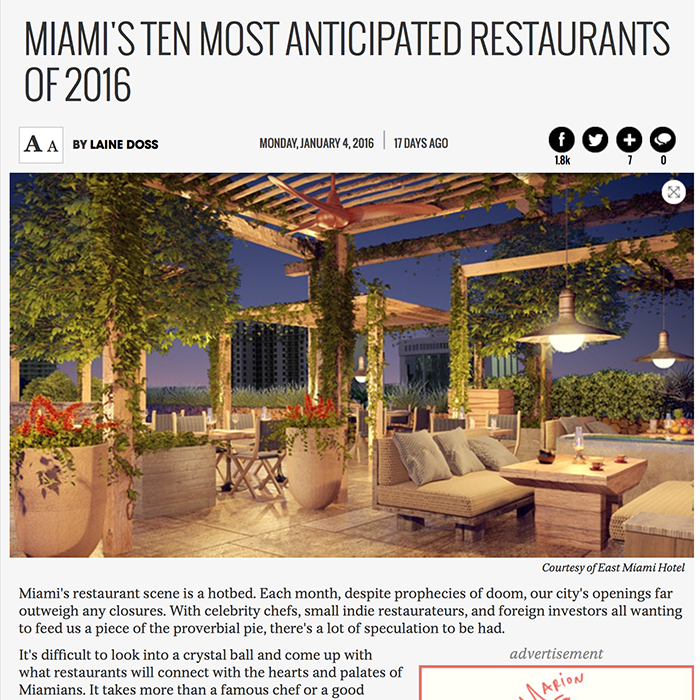 Miami New Times: Miami's Ten Most Anticipated Restaurants of 2016