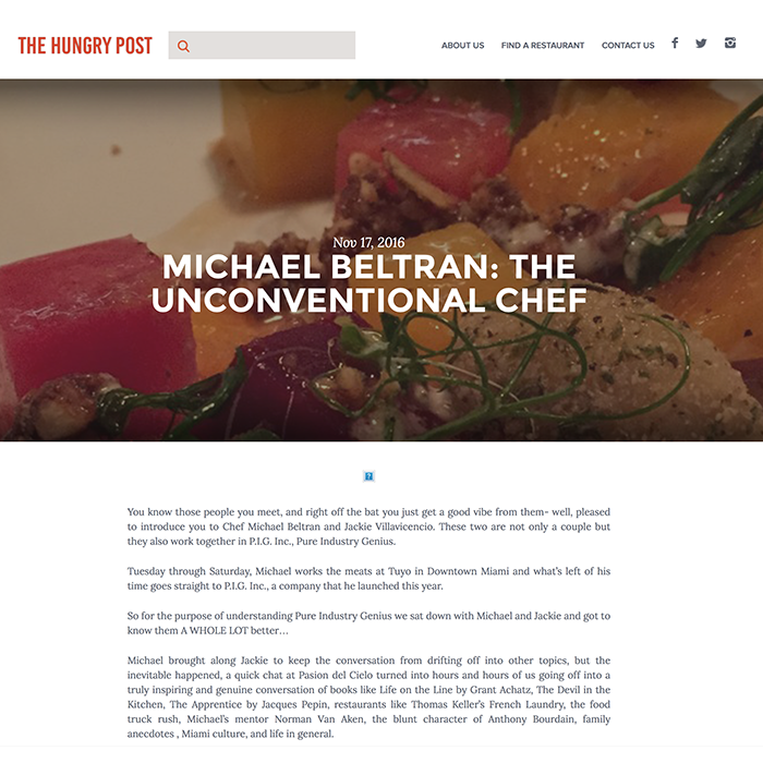 MICHAEL BELTRAN: THE UNCONVENTIONAL CHEF