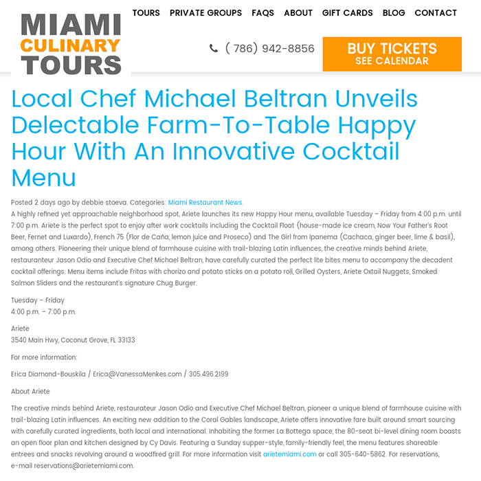 Local Chef Michael Beltran Unveils Delectable Farm-To-Table Happy Hour With An Innovative Cocktail Menu