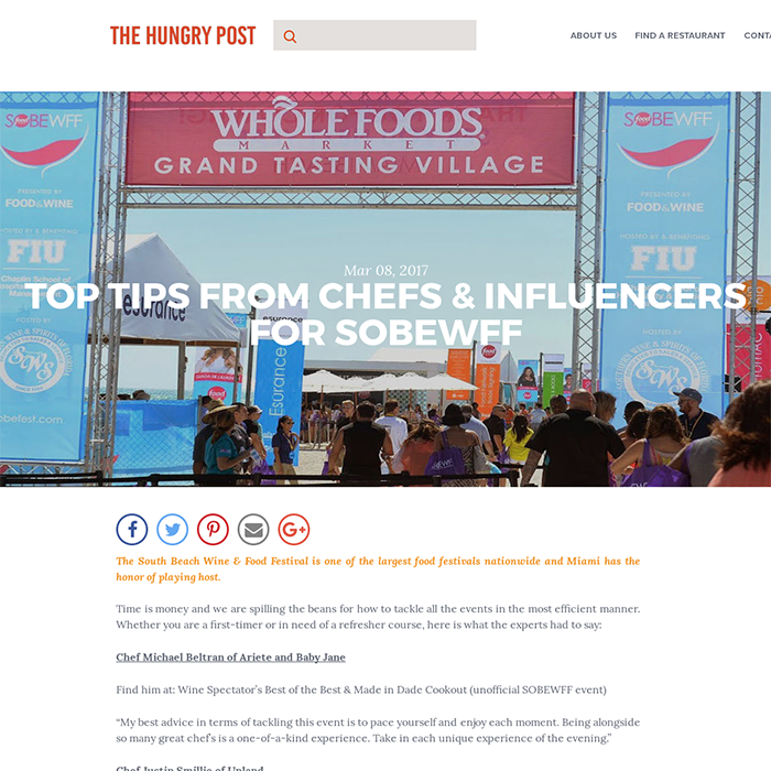 TOP TIPS FROM CHEFS & INFLUENCERS FOR SOBEWFF