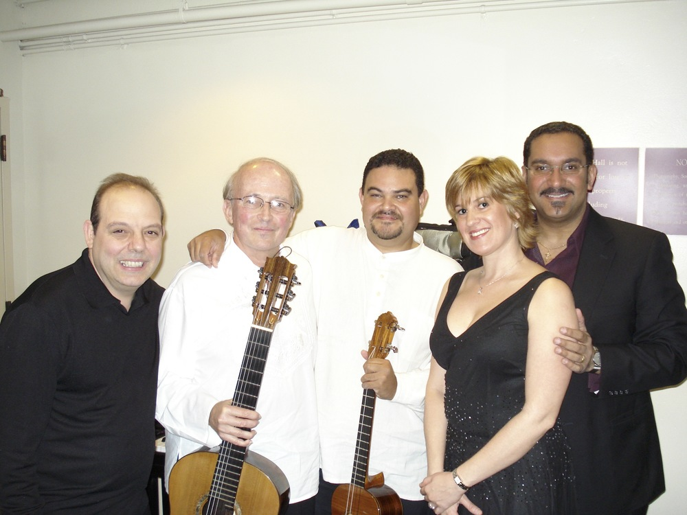 Backstage at Carnegie Hall with Carlos Barbosa-Lima, Larry Del Casale & Gustavo Colina