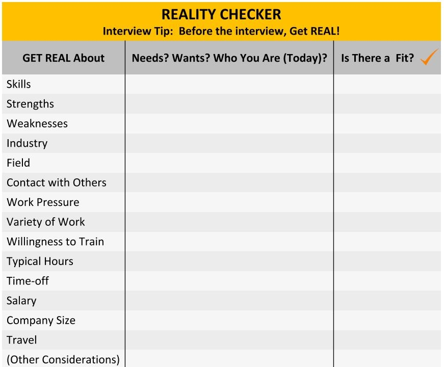REALITY CHECKER:  Before the interview, Get REAL!