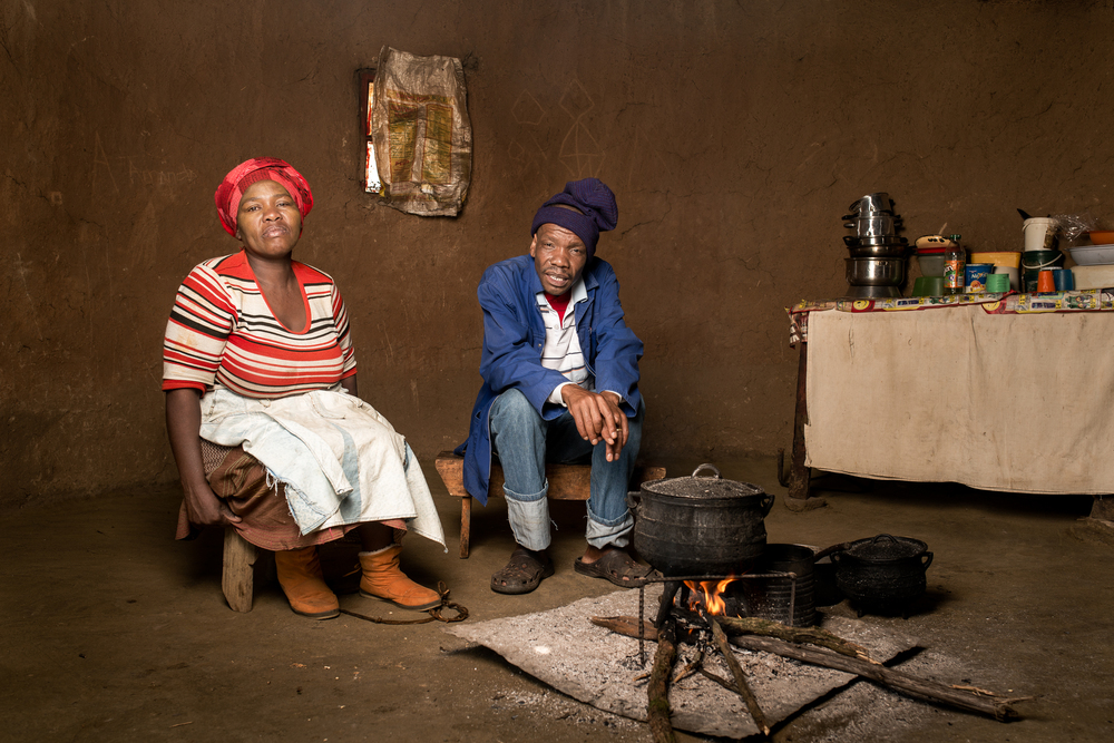 Nanabezi Mgoduswa (with his wife Nokwanda) worked in the gold mines for 21 years. He has silicosis and drug resistant TB. He received no compensation.