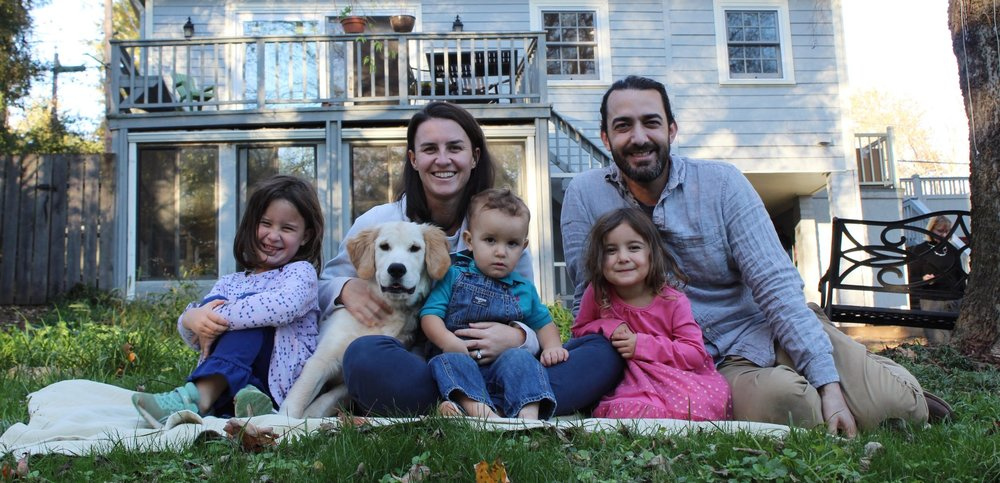 Emily and Anthony Lazaro with Annalivia, Mattie (the pup), James and Milly