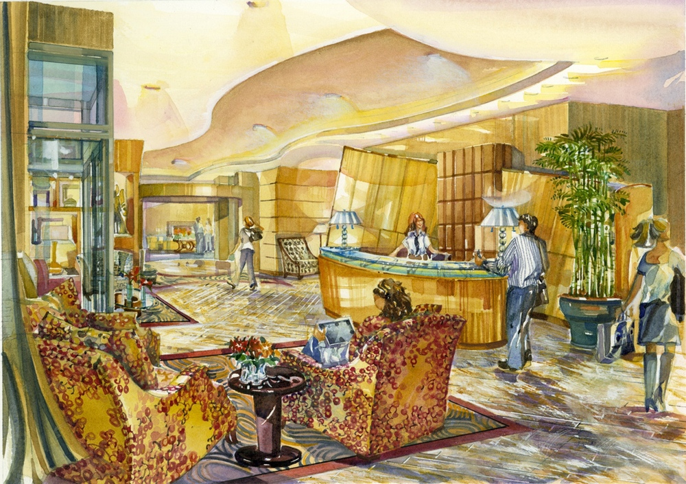 artist's watercolor rendering of main lobby   by Morga Architectural Art & Illustration