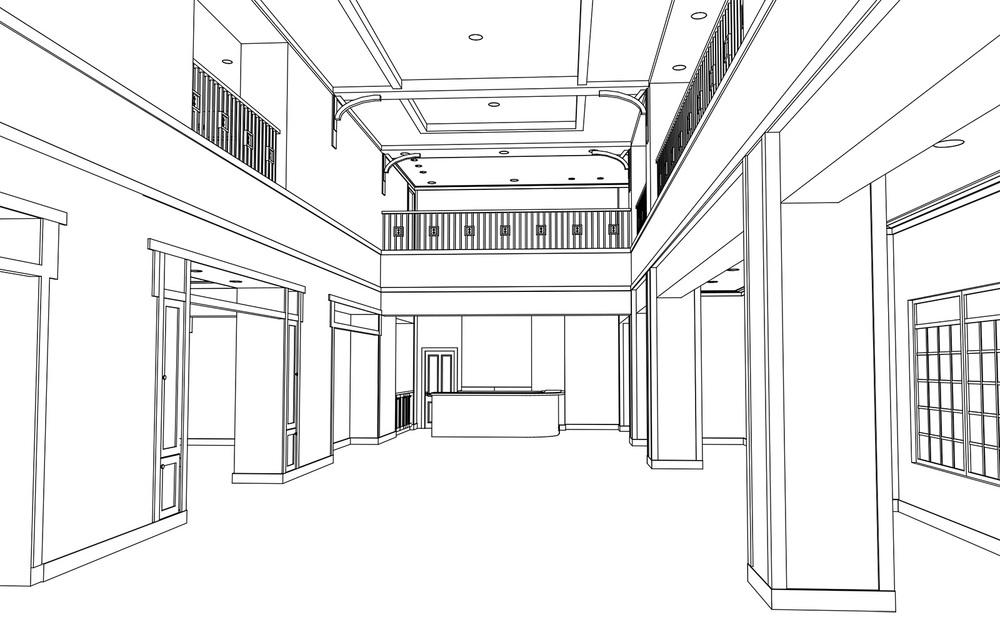 3D model of lounge   (courtesy of Kenneth E. Hurd & Associates)