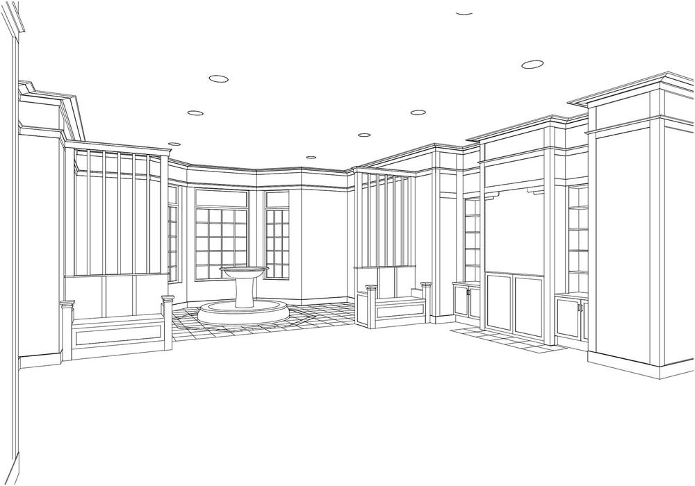 3D model of main lobby   (courtesy of Kenneth E. Hurd & Associates)