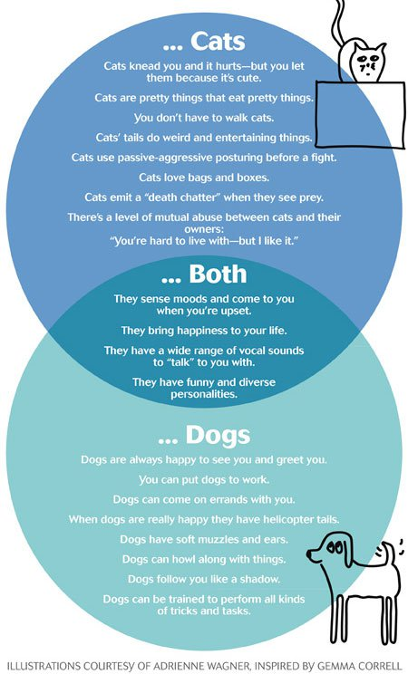 why we love cats and dogs, explained in venn diagrams cat and dog book diagram of cats and dogs #5