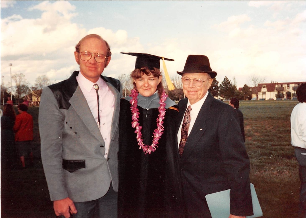 Dr. Kathy's vet school graduation! Left to right: Dr. Ed Smith, Dr. Kathy, and Dr. Tom Smith.