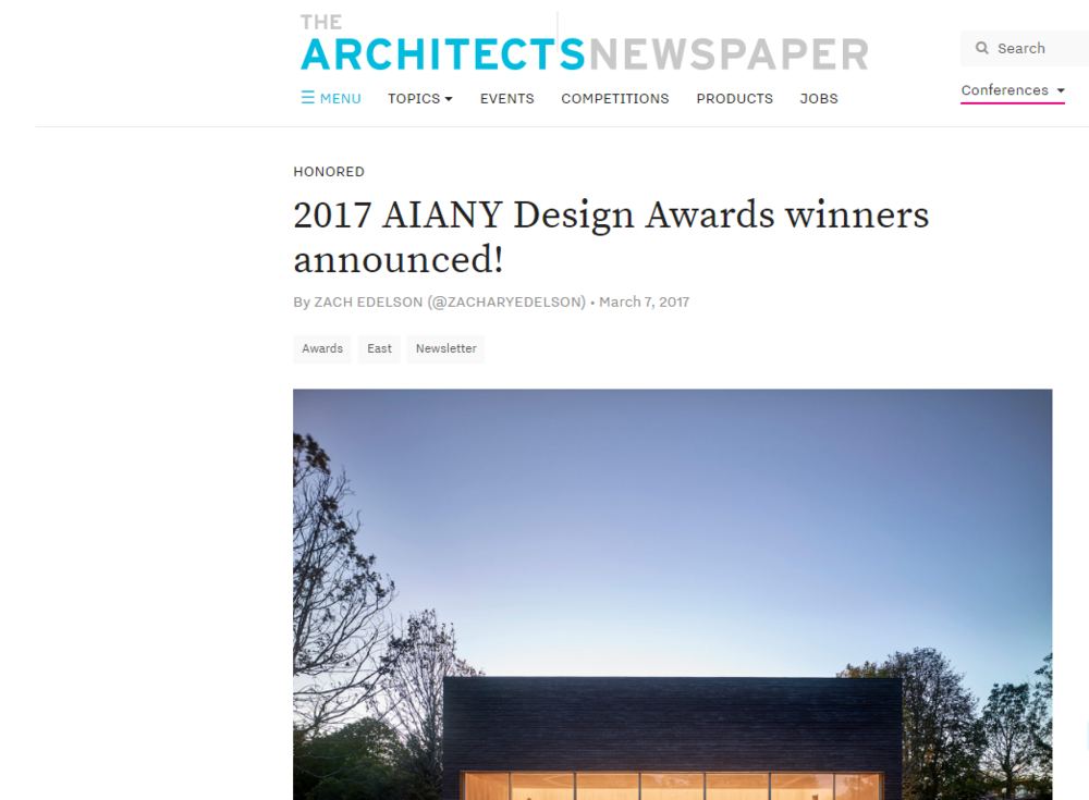2017 AIANY Design Awards winners announced! THE ARCHITECTS NEWSPAPER - ZACH EDELSON
