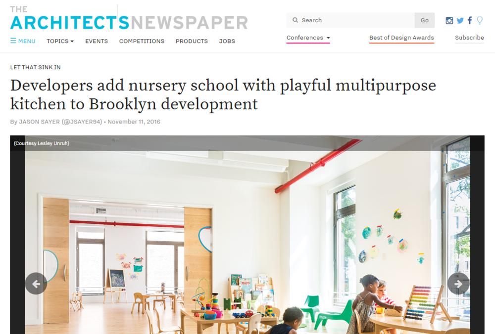 Developers add nursery school with playful multipurpose kitchen to Brooklyn development   THE ARCHITECTS NEWSPAPER. Jason Sayer.