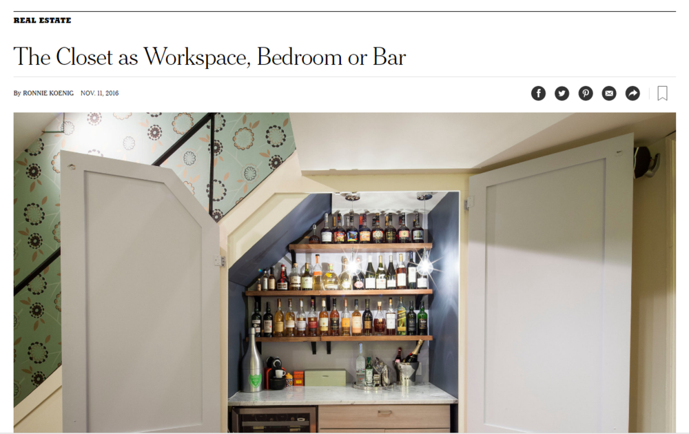 The Closet as Workspace, Bedroom or Bar   THE NEW YORK TIMES. Ronnie Koenig.