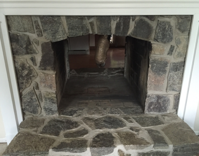 AFTER - Fireplace in Living Room - Pellet Stove Insert Removed   - Soot Removed - Trim Painted