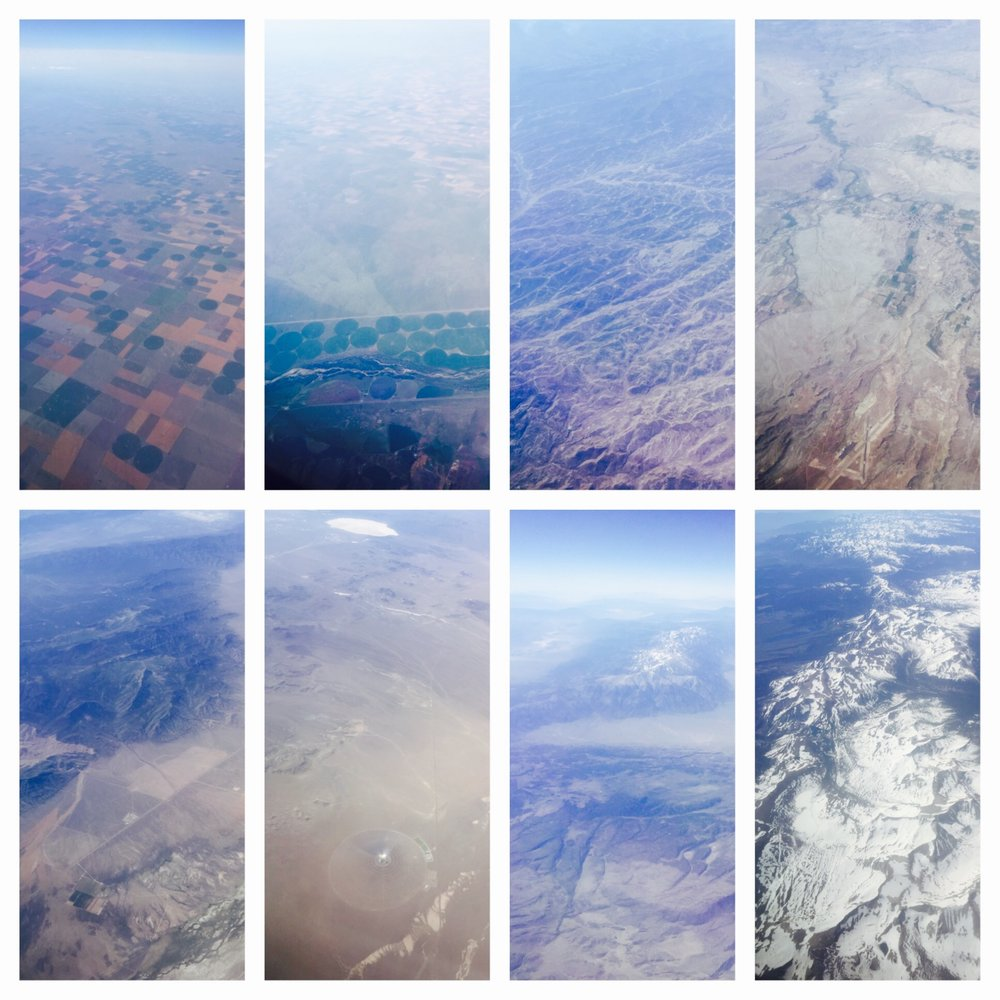 Views from the plane - flying across the midwest to California