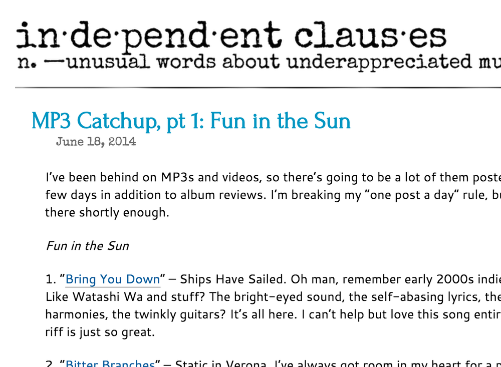 "Independent Clauses ""MP3 Catchup, pt 1: Fun in the Sun"" June 14, 2014"